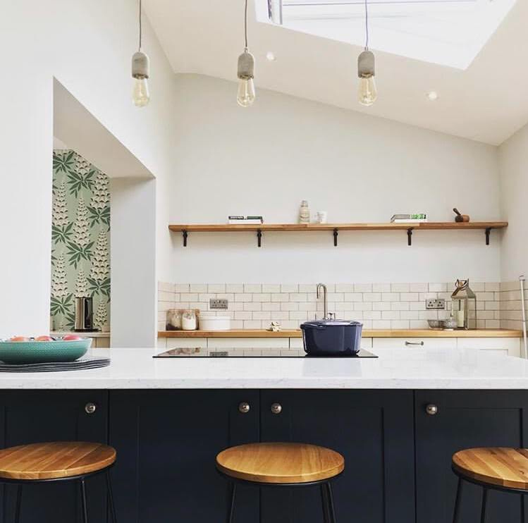 Kitchen Goals with Contrasting Cabinets and Light Worktops