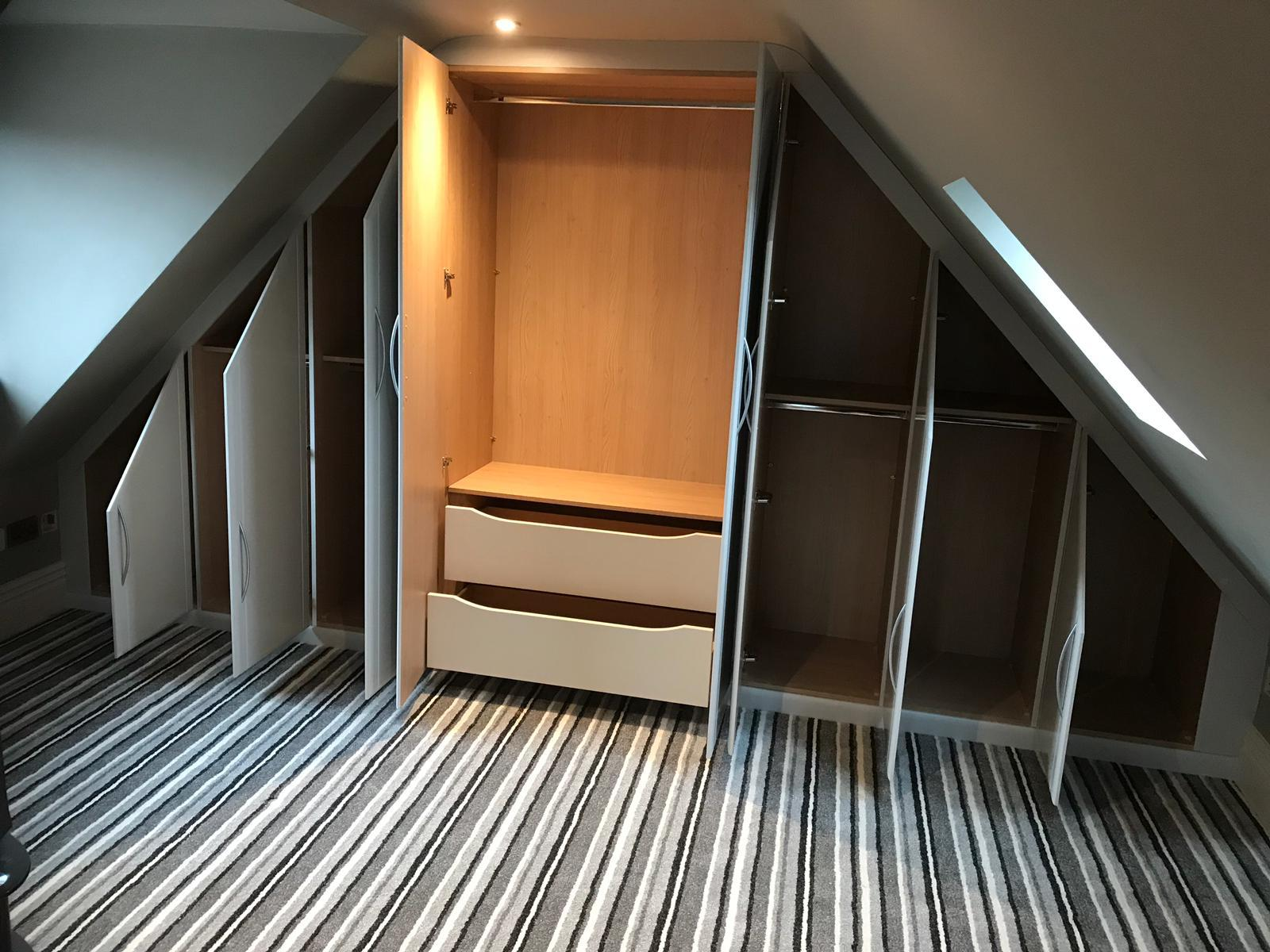 Bespoke bedroom wardrobes for curved ceilings