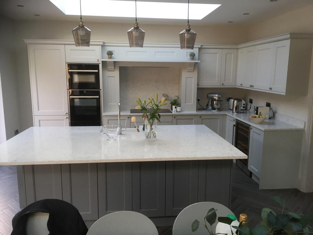 Soft Contrasting Grey Kitchen with Island